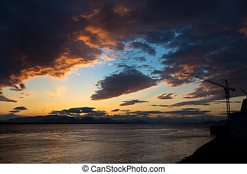 Sunset On The Seashore - Sunset on the seashore with...