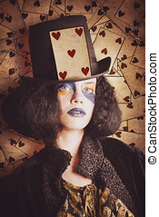 Vintage jester woman wearing the card of hearts - Vintage...