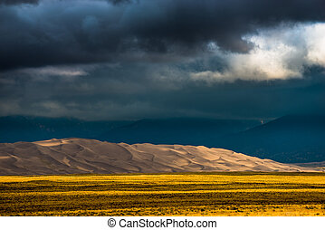Dark Clouds over the Sand Dunes Colorado USA Landscapes -...