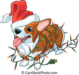 Corgi Dog with Santa Hat and lights - Vector cartoon clip...