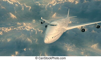 Plane Flying Above The Clouds - Plane flying above the white...
