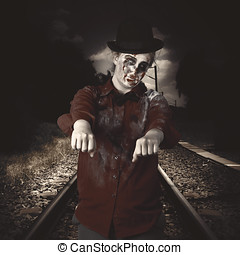Zombie walking undead down train tracks - Eerie photograph...