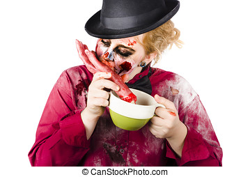 Woman eating bloody hand - Isolated female zombie eating a...