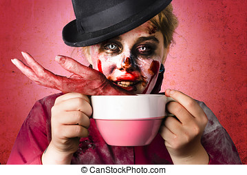 Scary female zombie drinking handmade soup - Creepy female...