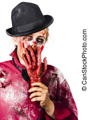Shocked zombie holding severed hand. Dead silence - Creepy...