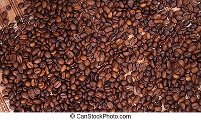 Coffee beans rotate perfectly on a
