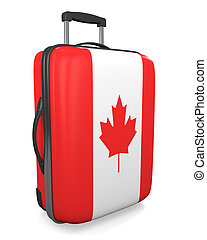 Canada travel suitcase - Canada vacation destination concept...