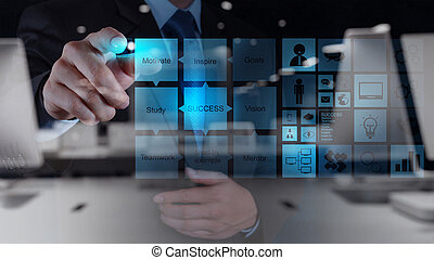 double exposure of businessman hand draws business success chart concept on virtual screen