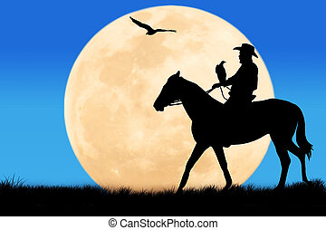 cavallo, suo,  silhouette,  cowboy, seduta, luna, Pieno, tramonto, fondo, fiume, secondo