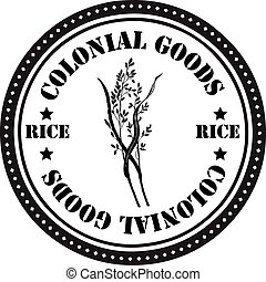 Colonial goods - rice - Stamp print, colonial goods - rice...