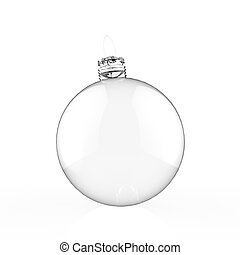 Empty 3d Christmas ornament on white background