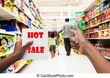 in the supermarket hand mother send signal go to shopping for sale