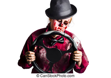 Bloody woman with steering wheel - Tired sleeping dead woman...