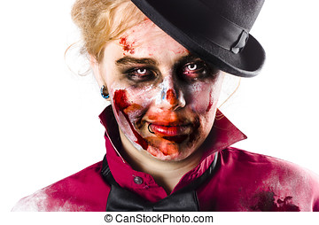 Smiling zombie woman - Woman with zombie makeup and costume...