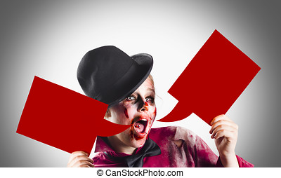 Frightening halloween girl shouting out message