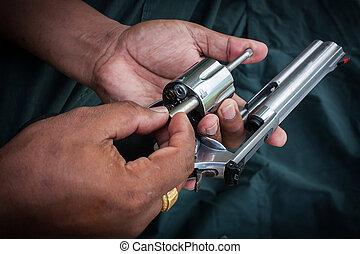 magmun, Cilindro, mostrar,  357, armazenamento, arma, mão,  revólver, segurando,  Handgun, homem