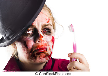 Zombie woman with toothbrush - Isolated Female zombie...