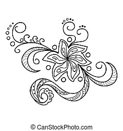 zentangle flowers - Hand drawn decorated image with flower...