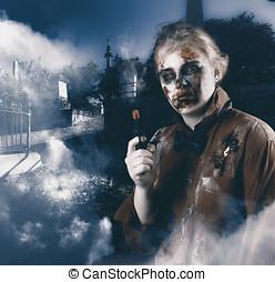 Monster in cemetery holding gun Grave robber - Cruel monster...