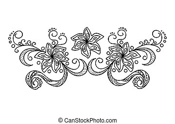 decoration with doodle flowers - Hand drawn decorated image...