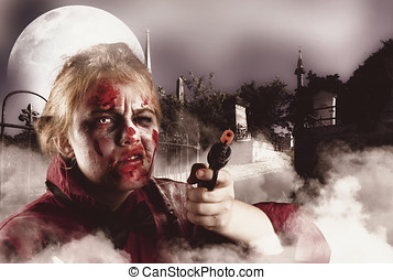 Zombie with gun in graveyard Full moon nightmare - Malicious...