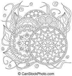 mandalas - Hand drawn decorated image with flowers and...