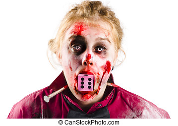 Unlucky woman with dice in mouth - Portrait of a bloody and...