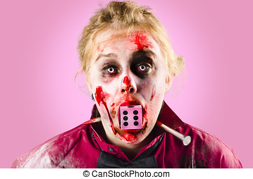 Unlucky dead person losing in the game of life with dice in...
