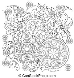 floral mandalas - Hand drawn decorated image with flowers...