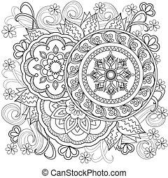 flowers-mandalas-b10 - Hand drawn decorated image with...