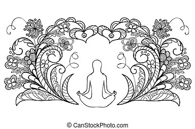 yoga - Hand drawn decorated image with a silhouette of a...