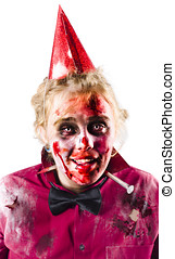 Creepy woman in Halloween costume - Smiling woman in bloody...