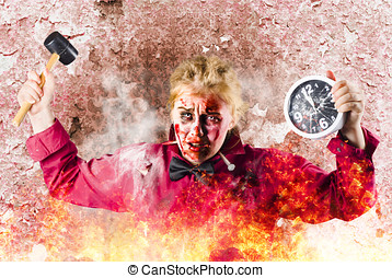 Burning girl holding clock and hammer. Apocalypse now -...