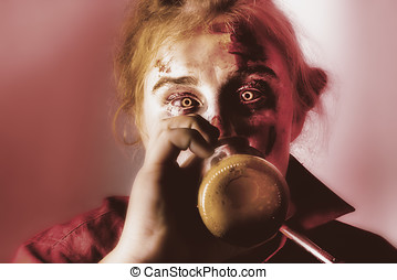 Drunk ghoul sculling beer at Halloween party - Creepy...
