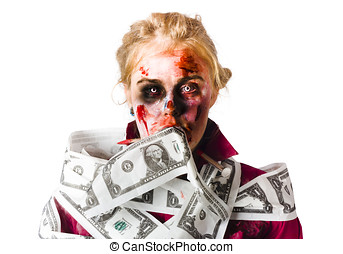 Worried zombie with Dollar bills - Worried blond female...