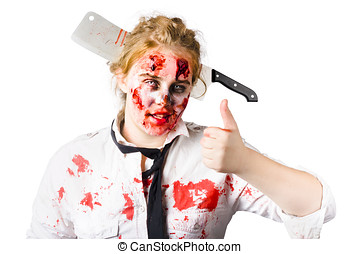 Bloody woman with cleaver in head - Bloody and beaten woman...