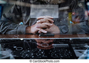 businessman hands using digital pro tablet and smart phone...