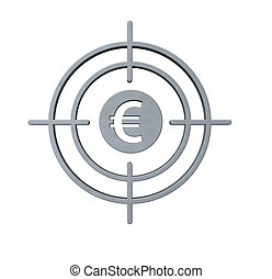 gun sight with euro symbol on white background - 3d...