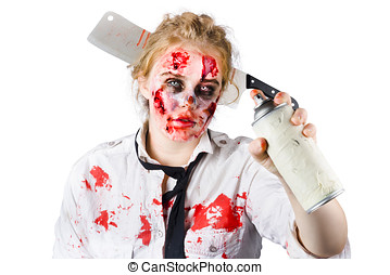 Zombie sales woman with spray can - A zombie sales woman...