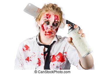 zombie, vendas, mulher, com, Pulverizador, lata,