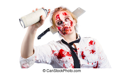 Undead woman with spray can - A woman in undead zombie make...