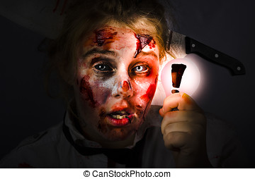 Scary zombie with Halloween idea light bulb - Scary female...