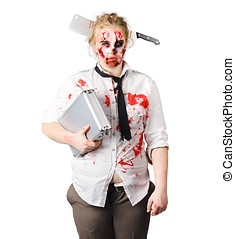Terrible working conditions - A woman in zombie makeup and...