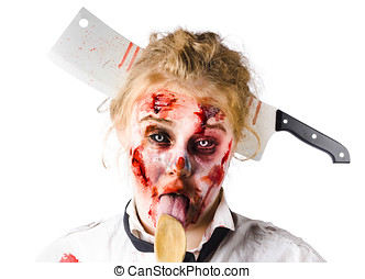 Knifed woman licking spoon - Beaten woman with meat cleaver...