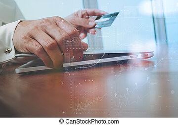 hands using laptop and holding credit card with quot;Secure...