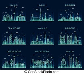 German cities vector illustration linear style - German...