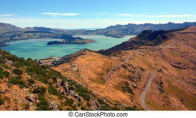 Lyttelton Christchurch - New Zealand - Aerial landscape view...