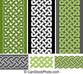 6 knotted seamless borders, vector - 3 Celtic style knotted...