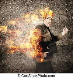 Crazy businessman running engulfed in fire Late - Funny...