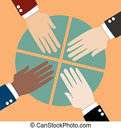 Business share. Hands with pie chart